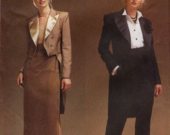 Womens Tuxedo Jacket, Tails, Skirt, and Pants - Vogue 7364 Sewing Pattern Sz 18-22 RARE UNCUT Vintage, Formalwear, Plus Size, Craft Supplies