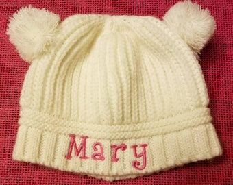 Embroidery Personalized Double Pom Pom Infant/Toddler Knit Hat, Monogramed Baby Winter Hat - Embroidered Child Pom Beanie