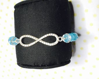 Infinity Bracelet, blue crystals, stretchy, beaded, layering, handmade, item no. L431