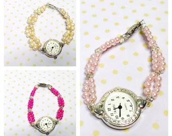 Faux pearls watch/Bracelet silver tone round face, choose a coloy, item no.L118