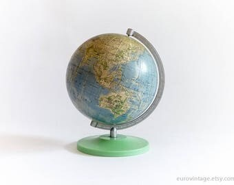 """Vintage Small World Globe 6"""" inches 70s World Map Green Base"""