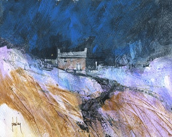 Original moorland cottage painting by Paul Bailey: Bwrw eira