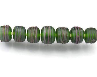 lampwork glass bead set green beads matte beads etched round beads green glass beads green lampwork