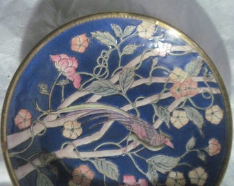 Vintage Chinese Brass and Porcelain Bowl