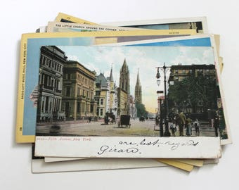 12 Vintage New York City Postcards Used