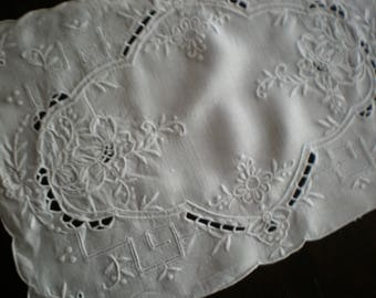 Set of Eight White on White Embroidered Linen Cotton Placemats