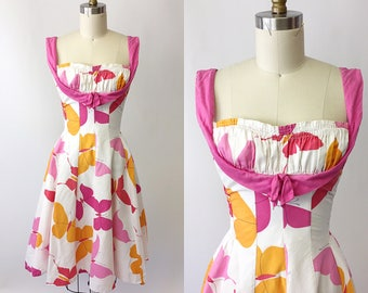 1950s Cole of California Pink and White Sundress