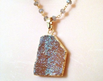HOT SALE Shimmery golden druzy and labrodorite necklace