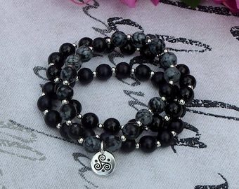 Protection, Calming, Strength - Snowflake Obsidian, Black Wooden Beads, & Agate Gemstone Triple Spiral Bracelet Trio