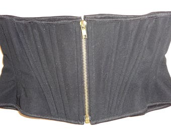 "Black Zipper Corset Belt XS 21"" for a 24-26"" waist  -  gold eyelets and zipper (Artifice photoshoot sample)"