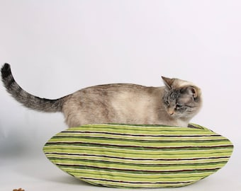 Cat Bed in Green Stripes fabric - the Cat Canoe modern pet bed