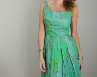 vintage 50s 60s green seashell nautical sleeveless summer spring sundress -- womens small -- 34-25-free