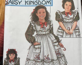 "Girls Simplicity 5439 DAISY Kingdom Sizes 5-8 Pinafore and Dress pattern Doll Pattern for 18"" Doll Daisy Kingdom Dress Pattern New Pattern"
