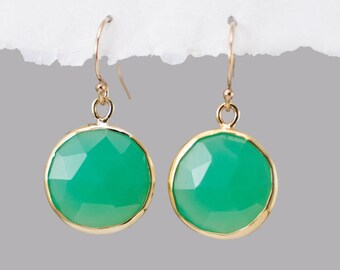 Chrysoprase Earrings, Mint Green Earrings, Round Gemstone Earrings, Gold Dangle Earrings, Stone Drop Earrings, Gold Framed Stone, Wife Gift