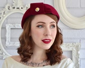 Vintage Burgundy Wool Hat with Rhinestone Metal Buttons and Back Fringe by Lazarus