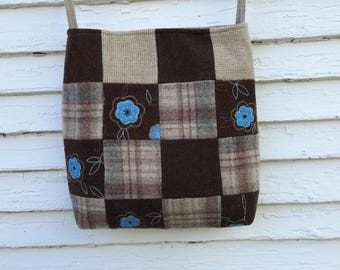 Wool patchwork bag, wool purse