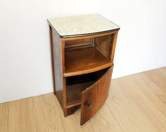 Vintage bedside table - Decoupaged Top - Vintage Map - Upcycled - London