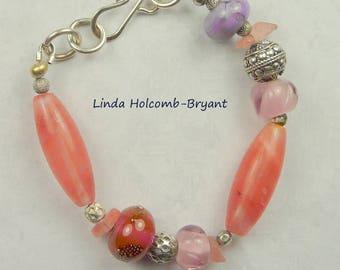 Silver Bracelet of Lampwork Beads