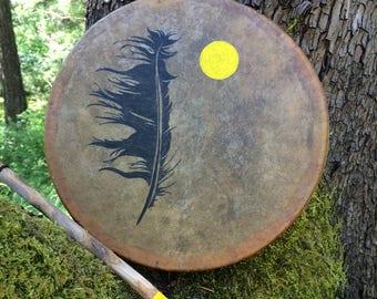 Native American Drum, Drum, Painted Drum, Shaman Drum, Deer Drum, Frame Drum, Hand Drum, Authentic Native Frame Drum, Feather and Sun Drum