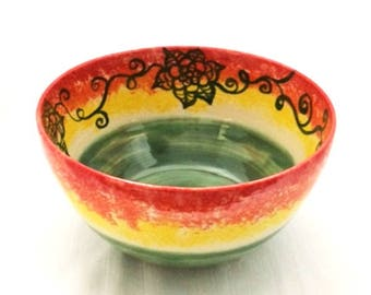 Ceramic Soup Bowl, Salad Bowl, Serving Bowl, Decorative Ceramic Bowl in Green, Red, Yellow, and Orange with Hand-Painted Flower Design