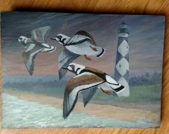 Shorebirds Cape Lookout lighthouse original acrylic painting,  painting on wood, Don Reardon