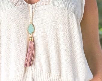 Tassel Necklace. Leather Tassel Necklace. Turquoise and Pink Tassel Necklace. Long Tassel Necklace. Boho Tassel Jewelry.