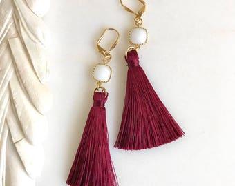 Burgubdy White and Gold Tassel Earrings.  Long Tassel Earrings.  Gold Statememt Earrings. Holiday Tassel Jewelry. Statement Earrings.