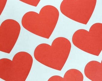 GLAM SALE Large Red Heart Stickers, Party Favor Stickers, Wedding Favor Stickers (30)