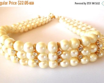 SALE Faux Pearl/Clear Rhinestone Choker Necklace Vintage triple strand