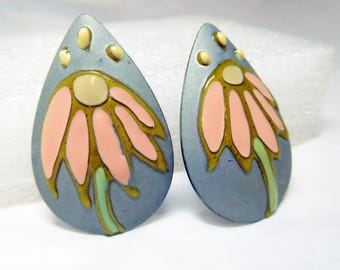Flower Earrings Large Enamel on Silver Vintage Hand Crafted Unique Gray Pink Green