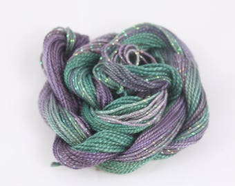 Purple amethyst Teal Cotton Perle crochet tatting yarn weaving supply Embroidery thread size 8 and 5 metallic fiber art variegated hand dyed