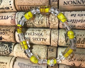 Beaded bracelet- yellow & clear