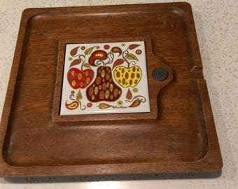 Vintage Fred Press Apples and Pear Tile cheese and cracker board