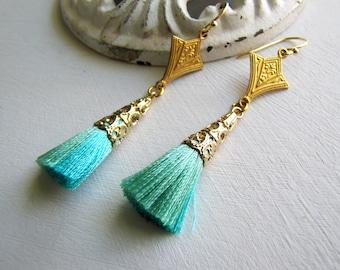 Mint Art Deco Tassel Earrings 1920's Earrings Kite Earrings Art Deco Earrings Downton Abbey Earrings Great Gatsby Earrings 1920's Jewelrys