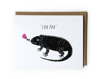 Cute Iguana Greeting Card, Iguana Illustration, Wedding Gift Idea, Anniversary Gift for Her, Cute Wedding Card, Love Card, A2, Blank Card