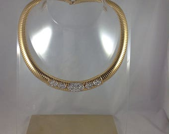Vintage Monet Signed Gold Omega Collar Necklace With Stones