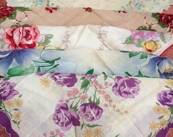 5 Vintage Floral Hankies