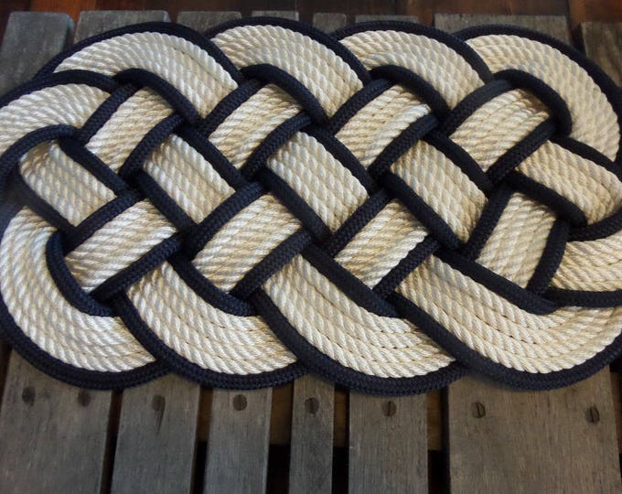 """White and Navy Rope Rug  30 x 12"""" Rope Rug Beautiful Knotted Made in USA"""