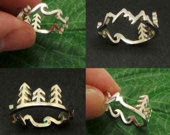 Silver Mountain Pine Tree Wave Ring - Travel Ring Traveler, Nature ring, Forest Ring, Inspiration Ring, Unique Outdoor Gift, Climbers, Hiker