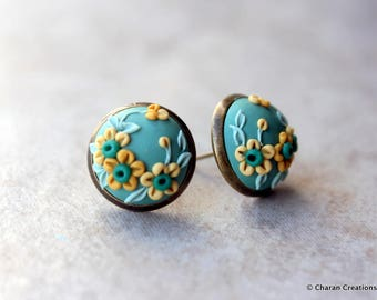 Lovely Polymer Clay Applique Statement Stud Earrings in Green and Mustard