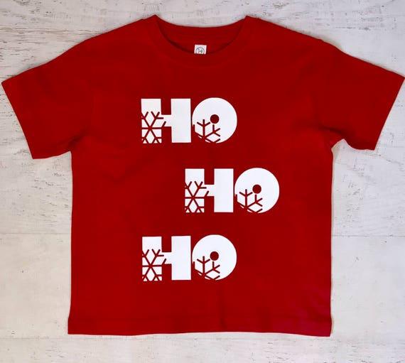 HO HO HO Childrens Shirt Sleeve T Shirt in Red