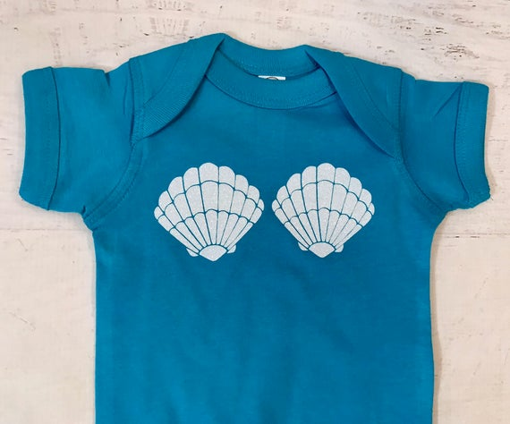 Mermaid Shells Glitter in White Rainbow baby bodysuit in Cobalt can be printed in a variety of colors