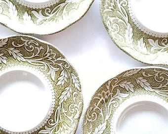ON-SALE Set of 4 J & G Meakin English Stoneware Saucers in Sterling Renaissance Pattern