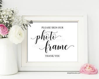 Printable Photo Frame Guest Book Sign, Wedding Sign, Guestbook, Wedding Printable, (1) JPEG File, You Print, You Frame