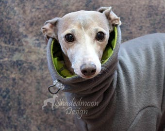 Made to order Italian Greyhound Grey Jammies with Green Cactus Print jersey lined Snood/Neck Warmer - see item details