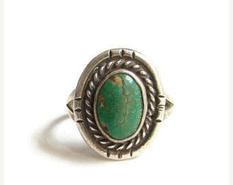 ON SALE Navajo Style Green Turquoise Ring Size 7.5 Sterling Silver Native American Indian Jewelry