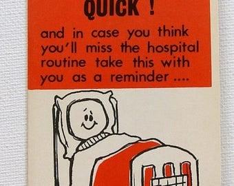 1960s vintage Get Well Soon greeting card, unused, with envelope