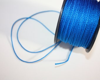 1.5 mm TWISTED BLUE Cord = 1 Spool = 55 Yards = 50 Meters of Elegant Polypropylene Rope - Great for Macrame, Sewing, Crocheting, Knitting