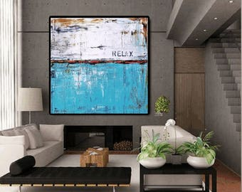 "wall Art 48""  Painting wall art   abstract  painting Acrylic painting  turquoise,blue,red Wall Decor wall hangings from   Jolina Anthony"