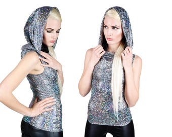 Hooded Top in Silver Hologram, Futuristic Fashion, Burning Man Clothing, Holographic Oversize Hood, Glam Rock Stage Wear, by LENA QUIST